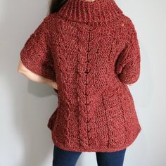 Ravelry: Autumn Breeze Cabled Poncho pattern by MJ's Off The Hook Designs Crochet Poncho Patterns, Crochet Shawl, Crochet Hoodie, Crochet Sweaters, Cape Designs, Crochet Cable, Knitted Cape, Hoodie Pattern, Knit Fashion