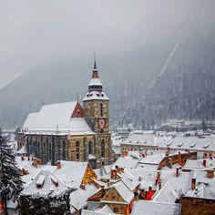 beautiful snowy villages. Brasov, Romania