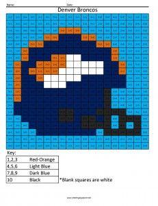 Denver Broncos Math Coloring