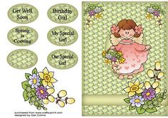 flower girl on Craftsuprint designed by Gail Collins - a lovely card for any one who like flowers xxx - Now available for download!