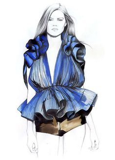 65 Fabulous Fashion Illustrations - From Crayon Style Collages to Psychedelic Female Depictions (TOPLIST) Mode Illustration, Fashion Illustration, Mode, Zeichnung, Sketch,