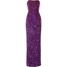 Badgley Mischka Couture embellished jersey gown ($1,530) ❤ liked on Polyvore featuring dresses, gowns, purple, long dress, vestidos, sequin dress, purple gown, jersey dress, long jersey dress and purple dress