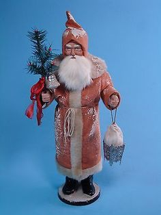 15 inch Paper mache German Santa(salmon) candy container by Paul Turner Shabby Chic Christmas, Prim Christmas, Victorian Christmas, Father Christmas, Christmas Items, Vintage Christmas, Christmas Ornaments, Disney Collectibles, Vintage Ornaments