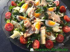 Sommersalat mit Oregano, Ei und Thunfisch - #Rezept Clean Eating, Eat Smart, Cobb Salad, Potato Salad, Sausage, Low Carb, Potatoes, Diet, Chicken