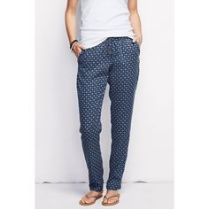 Lands' End Print Woven Soft Pants ($25) ❤ liked on Polyvore featuring pants, petite, slouchy pants, relaxed fit pants, saggy pants, relaxed pants and petite pants