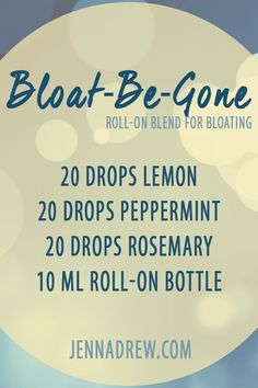 "Get rid of belly bloating with this simple essential oil blend. note: I'm a fan of the ""less is more"" belief for essential oil blends, so I would only use 3-5 drops of each oil. 60 drops in a 10ml is just too strong for me"