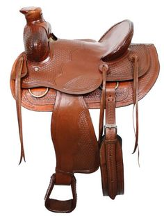 "16"" Wade style ranch saddle with square front. Saddle is double rigged with basket weave tooling and features natural rawhide on cantle and horn. Made by Buffalo Saddlery. Model# 026 Seat: 16 Hardseat"