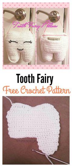 ideas for crochet pillow children tooth fairy Crochet Gifts, Crochet Toys, Free Crochet, Irish Crochet, Tooth Pillow, Tooth Fairy Pillow, Crochet Fairy, Crochet Pillow, Crochet For Kids