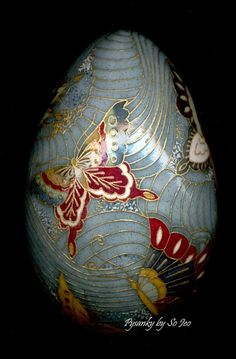 Butterflies Chiyogami Ukrainian Style Easter Egg Pysanky by So Jeo