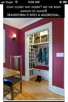 """Mudroom"" closet, I totally want to do this!"
