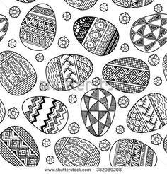 Vector Seamless pattern Easter eggs. Coloring book for adult.