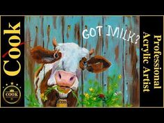 How to Paint a Dairy Cow on a Fence in Acrylics for Beginners to Advanced Artists