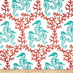 RCA Sea Pony Waterfall from @fabricdotcom  Screen printed on soft polyester duck; this versatile medium weight fabric is perfect for window accents (draperies, valances, curtains and swags), accent pillows, duvet covers and upholstery. Create handbags, tote bags, aprons and more. Colors include teal green and dark orange on a white background. Made in the USA.