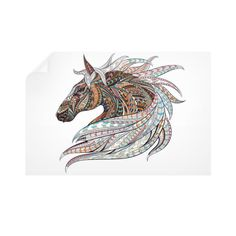 Equestrian Art - Ethnic Horse Head 2 - Horizontal Wall Decals