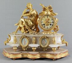 ANTIQUE 19TH C. FRENCH S. MARTI FIGURAL GILT & WHITE MARBLE