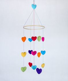 Valentine's Day - Colorful Crochet Hearts Mobile - Baby Mobile - Nursery Mobile - Crochet Mobile - Nursery Decor -  CUSTOM ORDER. $65.00, via Etsy.