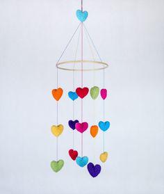 Valentine's Day - Colorful Crochet Hearts Mobile - Baby Mobile - Nursery Mobile - Crochet Mobile - Nursery Decor -  CUSTOM ORDER. $65.00, via Etsy.