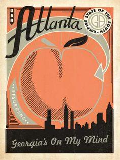 Cute poster for an apartment! Atlanta Georgia Peach Print   Anderson Design Group   Bourbon & Boots