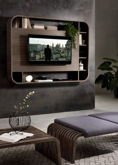 Vision wall TV unit with structure, panel and shelves veneered canaletto walnut or ash. Equipped with universal tv bar. Predisposed for cables raceway.Vision Tv Pacini a Cappellini - televízny Modern Lacquered TV Cabinets for Your Home DecorPic Tv Unit Decor, Tv Wall Decor, Wall Tv, Tv Wall Panel, Bedroom Wall Units, Tv In Bedroom, Diy Bedroom, Bedroom Tv Cabinet, Backdrop Tv