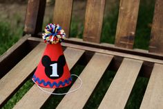 First Birthday Hat Mickey Mouse Clubhouse Red Yellow Blue Primary Colors First Birthday Party 1st Birthday Outfit Little Man by LittleStitchinLu on Etsy https://www.etsy.com/listing/160066725/first-birthday-hat-mickey-mouse