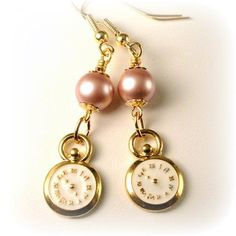 Pink Pearl Earrings Gold Clock Earrings