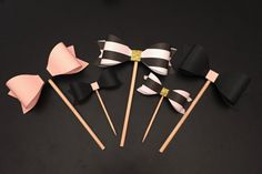 Set of 12 Spade Inspired Bow Cupcake Toppers (Pink/Blk/Gold/Stripes), Perfect for Bridal Shower/Baby Shower/Birthdays, 3 Different Sizes