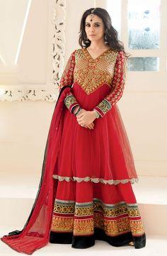 Maroon Priti Zinta Anarkali Dress In Net & Georgette . Shop at - http://www.gravity-fashion.com/maroon-priti-zinta-anarkali-dress-in-net-georgette-gf9140512.html
