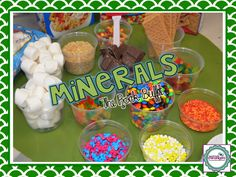 The ROCK Buffet - food types represent rock type formation.  The minerals go together to make the rocks.
