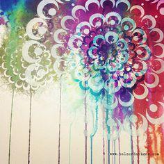 Julie Fei Fan Balzer - new bubble doily stencil, Jan. Art Journal Pages, Art Journals, Sketchbook Inspiration, Stencils, Stencil Art, Stencil Designs, Mixed Media Collage, Art Club, Art Techniques
