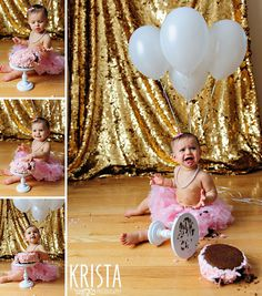 ©2013 Krista Guenin/Krista Photography www.kristaphoto.com first birthday cake smash, cake falls over! baby girl in pink tutu, pearls and pink bow with white balloons and gold backdrop