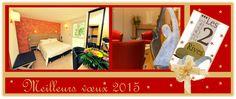 """Offre nouvel an #hôtel les 2 Rives. Séjour à #La Canourgue pour 2 personnes, 1/2 bouteille de champagne, gourmandise de chez """"Damaselles"""", 2 petits déjeuners et deux repas du réveillon."""