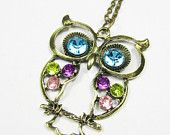 Owl necklace with Colorful Crystals