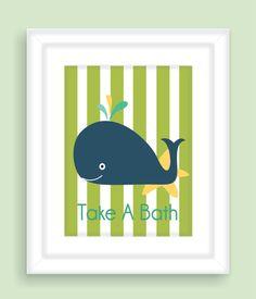 Navy Blue Whale Children's Bathroom wall art, Nursery Print, Bathroom decor in blue and green customizable Childrens Bathroom, Baby Bathroom, Beach Theme Bathroom, Bathroom Wall Art, Navy Nursery, Nursery Prints, Whale Decor, Blue Whale, Baby Decor