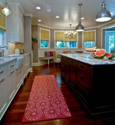 Cool Kitchen Rugs for Your Kitchen Plans : Excellent Wood Kitchen Island Granite Countertop And Awesome Kitchen Rug Kitchen Sink Window, Wood Kitchen Island, Narrow Kitchen, Kitchen Towels, Kitchen Curtains, Kitchen Wood Design, Kitchen Paint, New Kitchen, Kitchen Tips