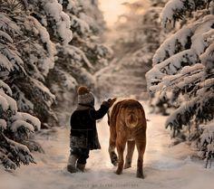 Elena Shumilova's magical, wintry photography: Boy and dog walking past snowy trees