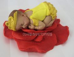 Red Rose Yellow Princess Baby Cake Topper 1ST door DinasCakeToppers, $28,00