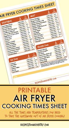 Wondering how to adjust your favorite recipes for cooking in the air fryer? - Wondering how to adjust your favorite recipes for cooking in the air fryer? This handy Air Fryer Co - Air Fryer Recipes Wings, Air Fryer Recipes Chips, Air Fryer Recipes Appetizers, Air Fryer Recipes Vegetables, Air Fryer Recipes Vegetarian, Air Fryer Recipes Low Carb, Air Fryer Recipes Breakfast, Air Fry Recipes, Air Fryer Dinner Recipes