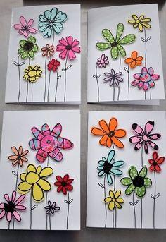 paper scraps flower cards, crafts
