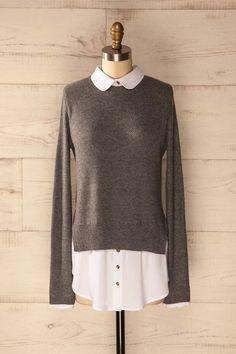 Keash Fog - Grey shirt layered sweater