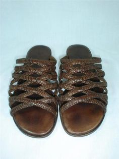 COLE HAAN Resort HUARACHE WOVEN Sandals BROWN Flip Flops Size 7B Made in  Brazil