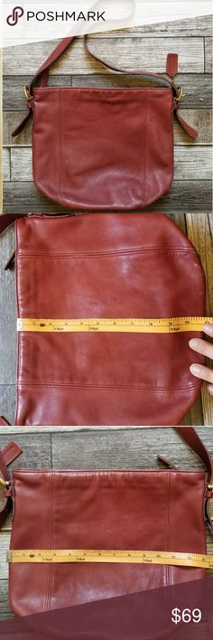 COACH vintage Monterey hobo Red leather true vintage Coach hobo. Fading, discoloration, marks throughout for distressed look. Structurally in great condition. Brass hardware. Zip closure. Unlined Coach Bags Hobos