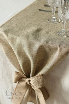 Linen Table Runner  14 inch Brown Burlap by BlissByLingsMoment