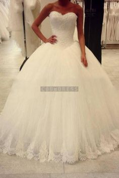 Ball Gown Sweetheart Lace Tulle Wedding Dress - Shedressing.com
