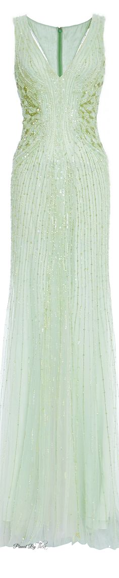 Monique Lhuillier ● SS 2015, Mint Embroidered Tulle Gown…