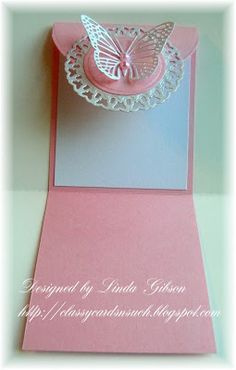 handmade card from Classy Cards 'n Such ... fancy flap card ... pink and white ... luv the feminine look and butterfly medallion on the closure ...