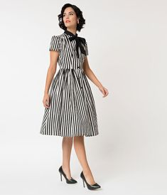 1650381a57e 1950s Style Black   White Striped Button Up Swing Dress