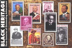 Thurgood Marshall, 1ST African-American U.S. Supreme Court Justice, is honored with the 2003 Black Heritage stamp issue. Also pictured are some of the many other African-Americans who have been honored with stamp issues for their contributions and achievements. -   Listed are: Harriet Tubman, Carter G. Woodson, Frederick Douglass, Scott Joplin, Dr. George Washington Carver, Thurgood Marshall, Benjamin O. Davis, Sr., Bill Pickett, Booker T. Washington, & Bessie Coleman.