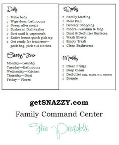 Family Command Center Cleaning Checklists Get Your Life Organized Boot Camp getSNAZZY.com