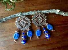 Earth and fire copper filigree and cobalt blue chandelier earrings by CrowsFeetStudio on Etsy