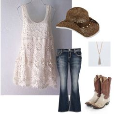 plus size outfit. lace tank top,jeans,cowgirl hat/boots.. by karlajsm on Polyvore featuring polyvore fashion style maurices REI